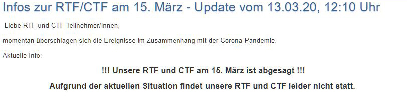 NRW-CTF-CUP: RSG Herne sagt CTF wegen Corana ab